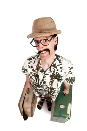 Funny safari tourist on white background photo