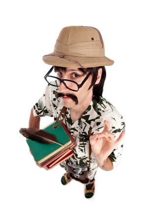 Funny explorer or archeologist on white background photo
