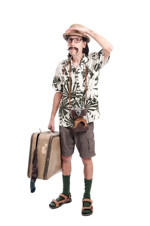 Verloren grappig toeristische geïsoleerd op witte achtergrond Stockfoto