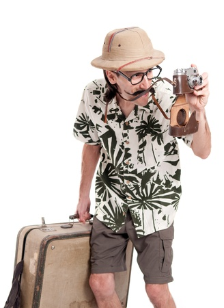 Funny retro photographer or safari tourist photo