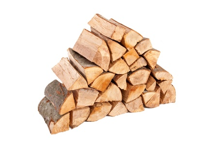 Large stack of firewood isolated on white background Stock Photo