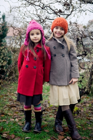 winter leaf: Two cute retro girls posing