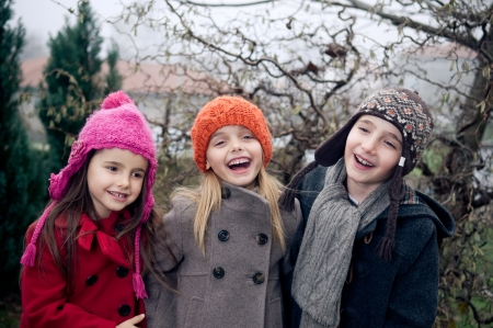 Happy kids outside in cold weather  photo