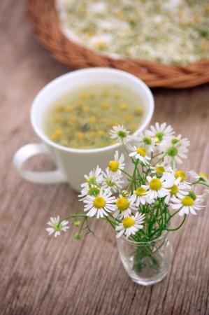 whithe: Flores de manzanilla y whithe taza de t� sobre la superficie de madera