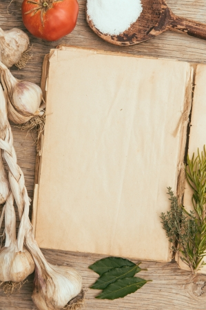 cookbook: Vintage blank cookbook and mediterranean food Stock Photo