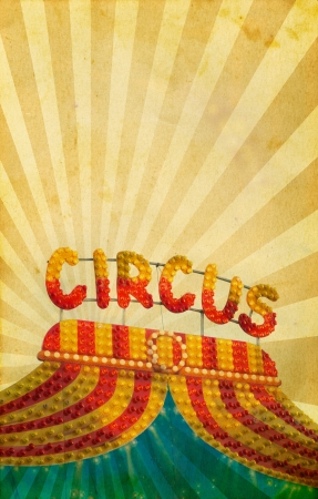 Vintage circus neon sign on old paper  photo
