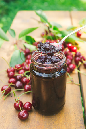 marmalade: Sour cherries and delicious jam Stock Photo
