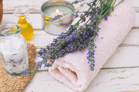 bathsalt: Wellness products. Candle, lavender, oil and bath-salt