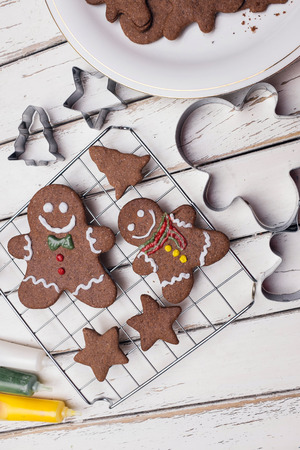 Making gingerbread christmas cookies photo