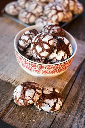crinkles: Chocolate Crinkles. Chocolate cookies in powdered sugar.