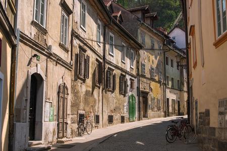 ljubljana: Streets in old town Ljubljana, Slovenia