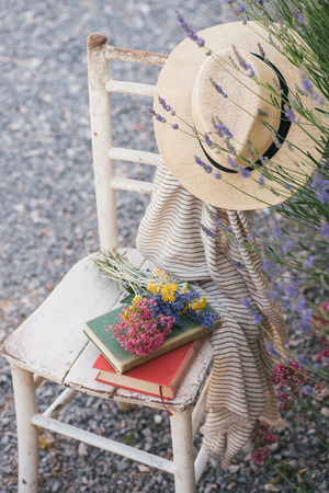 herbs of provence: Vintage chair books hat and lavender