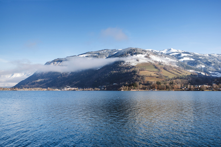 zell am see: Zell am see lake in winter time