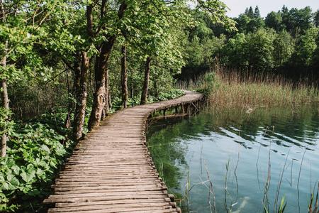 Houten weg in Plitvice, Kroatië Stockfoto