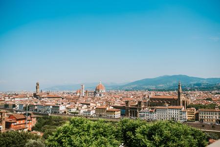 Mening van Florence van Piazzale Michelangelo, Florence, Italië Stockfoto