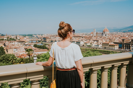 Woman looking at the city of Florence