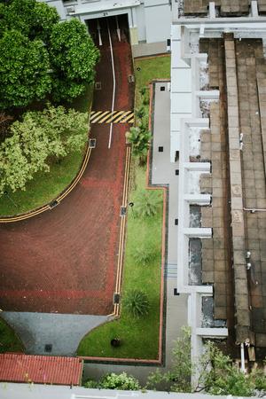 Luchtfoto van residental straat