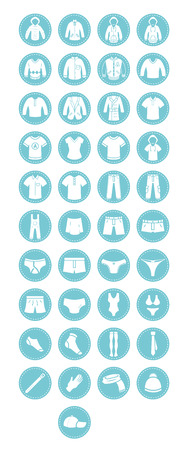 A collection of icons with clothes and accessories. Vector illustration.