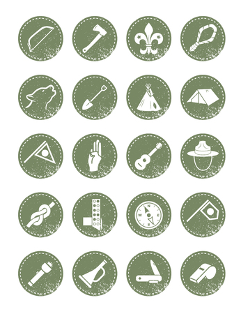 Scout icons in a retro style for  hipster design Vector illustration.