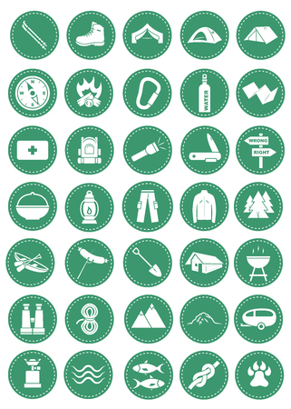 A set of icons for camping and other outdoor occasions. Illustration