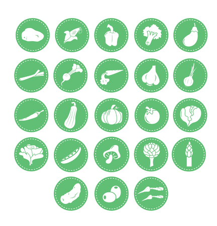 A collection of icons with vegetable motifs. Vector illustration.