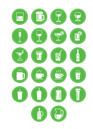 Icons of drinks in a retro look for the hipster in you. Vettoriali