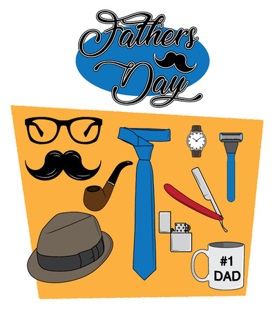 A set of items that symbolise fathers and fathers day Illustration