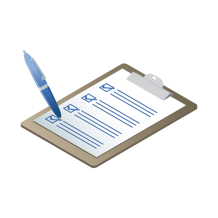 Isometric clipboard with checklist