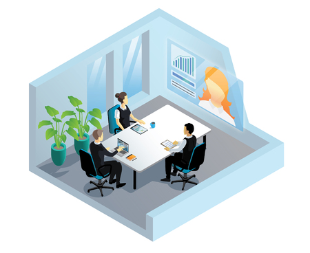 Isometric video conference in office  イラスト・ベクター素材