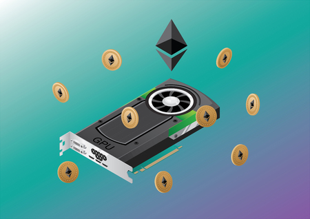 Vector isometric GPU with Ether coins floating arround it