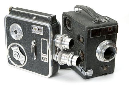 amateur: dos aislados retro lado de las c�maras de pel�cula de aficionados Foto de archivo
