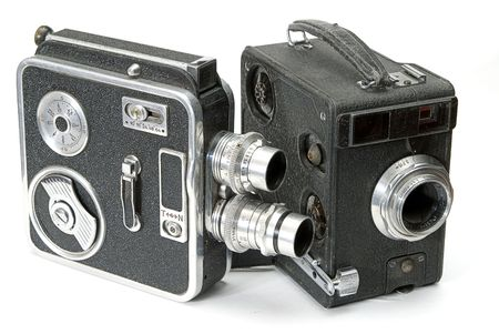 amateur: two isolated retro hand cameras for amateur film Stock Photo