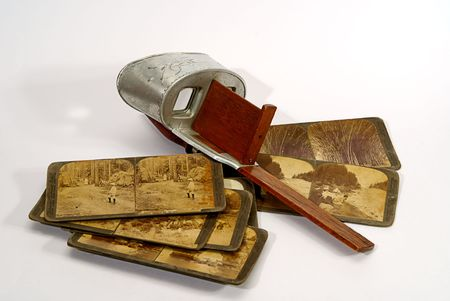stereoscope: old stereoscope  and antique stereo photodraphs jsolated