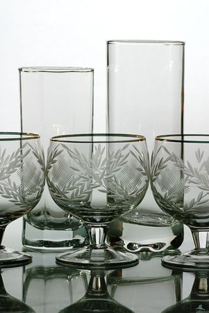 bocal: glass ware wine glass and bocal isolated Stock Photo
