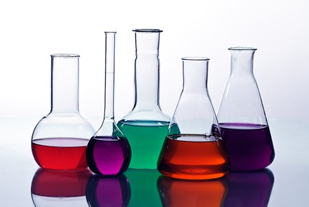 laboratory  glassware with solution  colorful photo