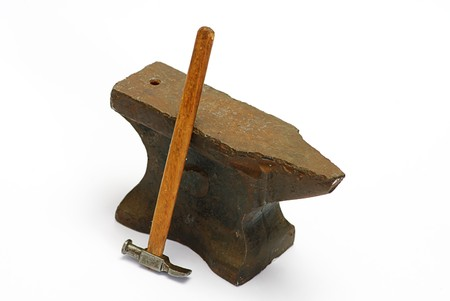 old anvil and hammer isolated photo