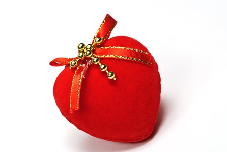 radiosity:  valentine red heart on white Stock Photo