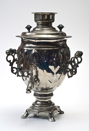 old russian samovar on white photo