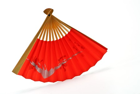 fantail: red fan fantail on white background
