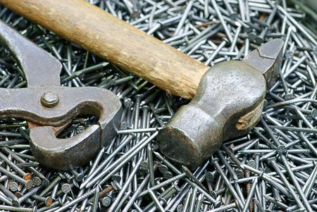 steely: nail, pincers and  hammer macro