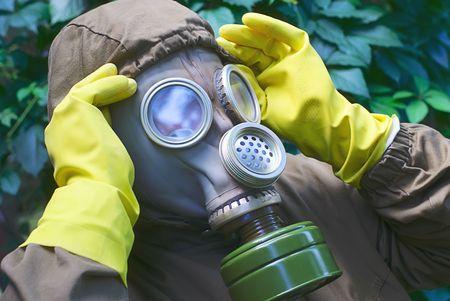 soldier dress a  gas mask photo