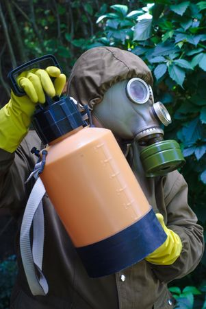 soldier dress gas mask  photo