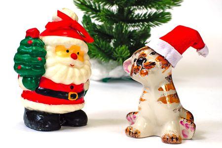 kringle:   Santa Claus and tiger and  christmas tree