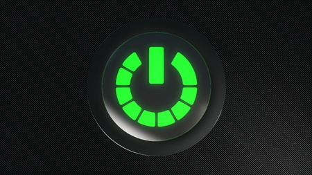 green power: green glowing power icon button Stock Photo