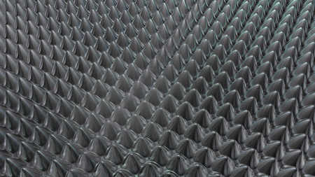 spikes: rounded metal spikes background 3D rendering