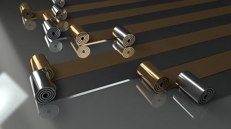 foil roll: metal rolls unrolling on gray background 3d render