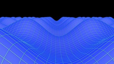 grid: 3d illustration blue grid landscape