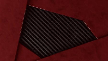 dark fiber: red metal and carbon frame grundge background, 3d illustration Stock Photo