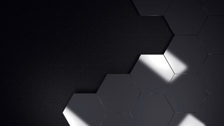 chrome hexagons grid background template 3d illustration Stock Photo