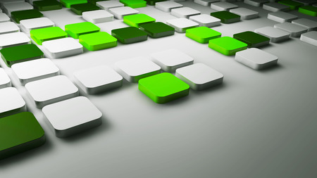 3d green and white squares background, 3d illustration Stock Photo